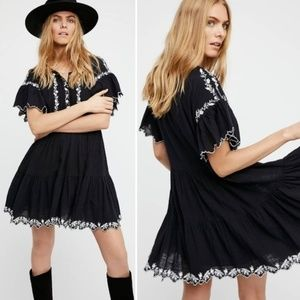 Free People Black Embroidered Santiago Mini Dress